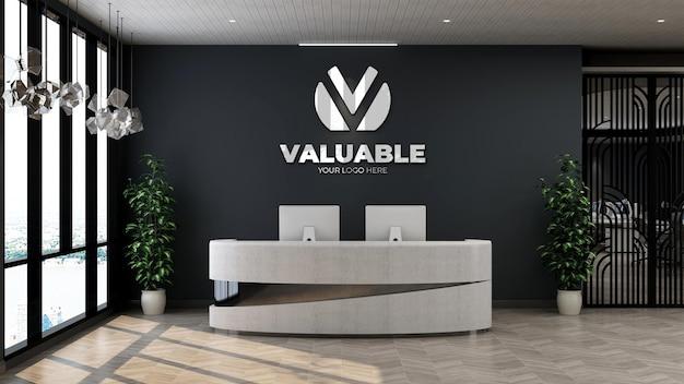 Signe de maquette de logo 3d dans la salle de bureau d'hôtel d'intérieur de réceptionniste