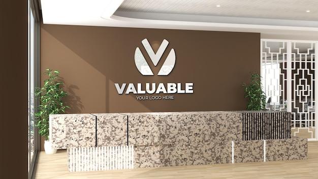 Signe de maquette de logo 3d dans la salle de bureau intérieure de la réceptionniste