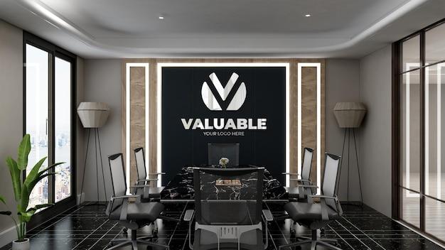 Signe de maquette de logo 3d dans la salle de réunion du bureau avec un design d'intérieur de luxe
