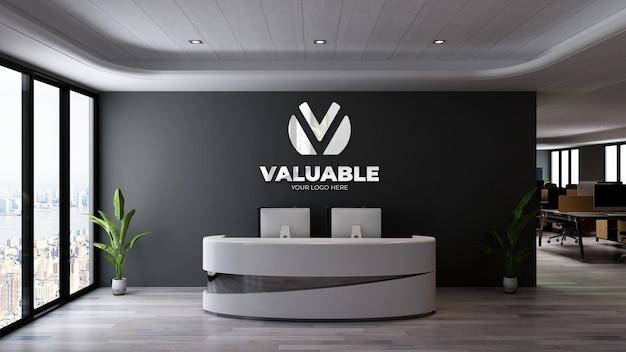 Signe de maquette de logo 3d de luxe dans la salle de bureau intérieure de la réceptionniste