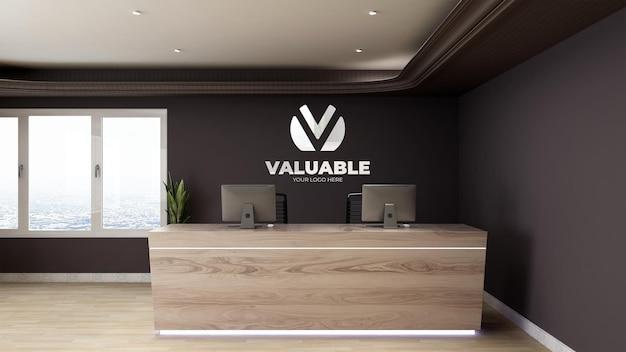 Signe de maquette de logo dans la salle de bureau intérieure de la réceptionniste