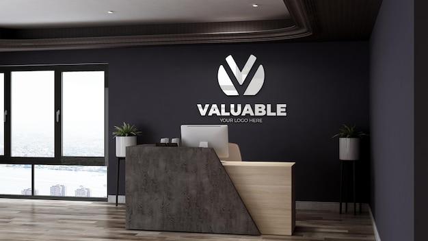 Signe de maquette de logo de luxe dans la salle de bureau d'affaires de réceptionniste
