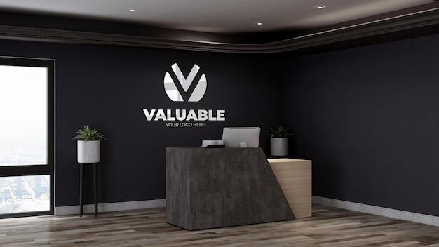 Signe De Maquette De Logo De Luxe Dans La Salle De Bureau D'affaires De Réceptionniste PSD Premium