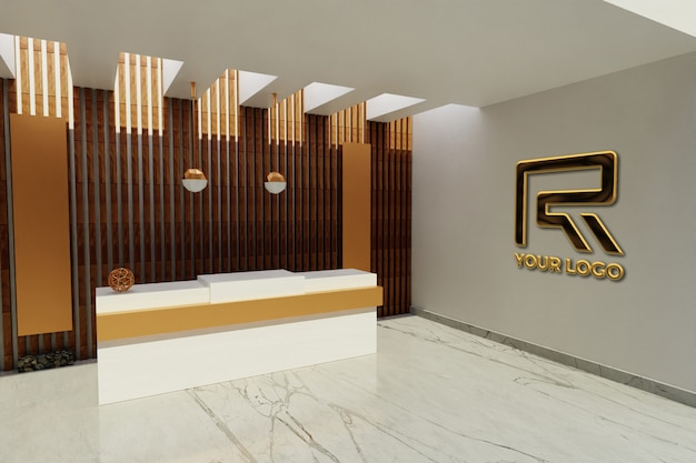 Signe de maquette de logo de luxe dans la salle de bureau de l'hôtel de réceptionniste