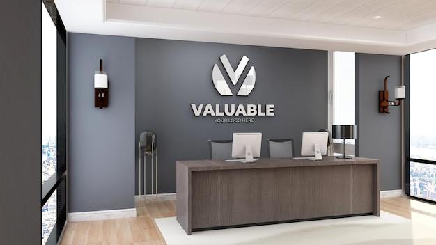Signe de maquette de logo minimaliste dans la salle de bureau de l'hôtel réceptionniste