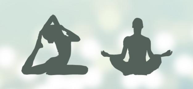 Silhouettes de yoga mis en