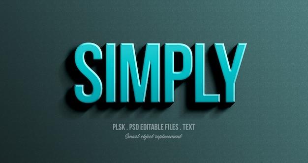 Simplement 3d maquette d'effet de style de texte