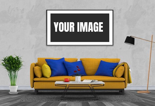 Simuler le cadre d'affiche dans le salon moderne d'intérieur de hipster