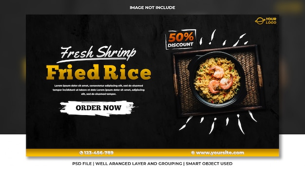 Site web de bannière de médias sociaux de fruits de mer de riz frit frais