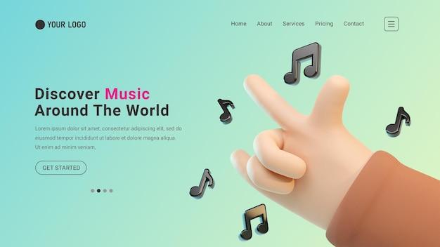 Site web de la page de destination musicale avec geste de la main rock 3d et icônes de notes de musique