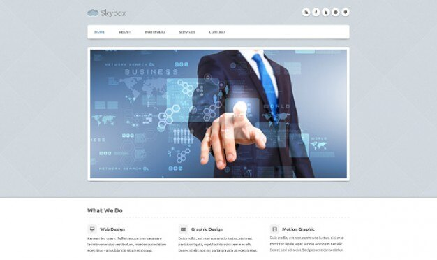 Skybox page d'accueil psd