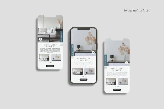 Smartphone 12 max pro et deux maquettes d'écran