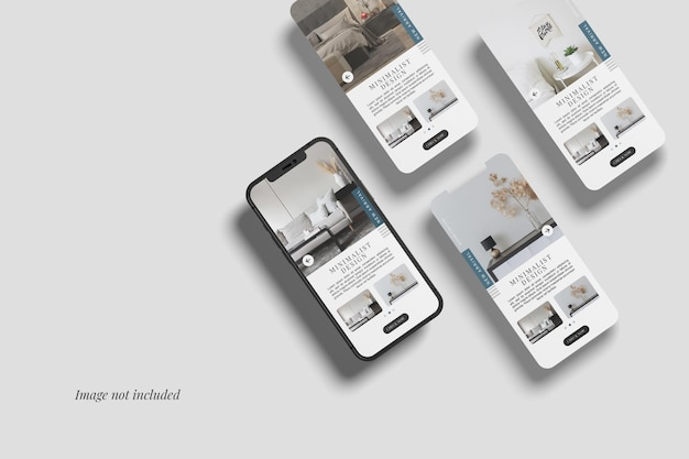 Smartphone 12 max pro et trois maquettes d'écran d'interface utilisateur