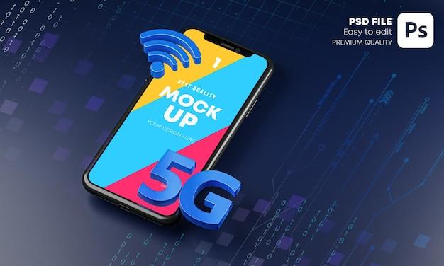 Smartphone 5g mockup hologram technology 3d