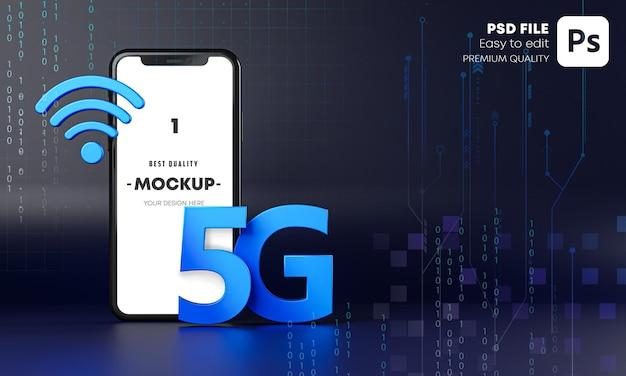 Smartphone 5g mockup hologram technology concept 3d