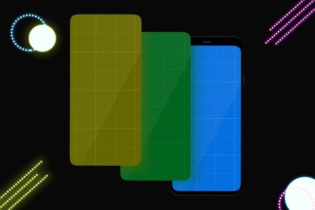 Smartphone avec écran de maquette pour la présentation de l'application