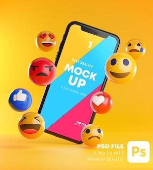 Smartphone entre un tas d'émoticônes emoji dans la maquette de rendu 3d