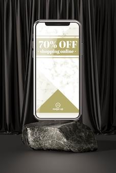 Smartphone maquette 3d sur pierre de marbre