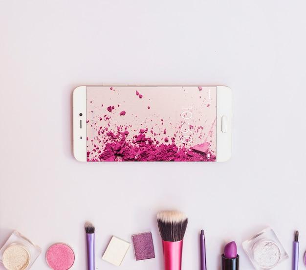 Smartphone maquette avec concept beauté