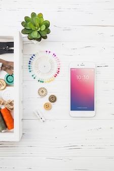 Smartphone maquette avec concept de couture