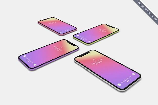 Smartphone avec maquette de couleurs multiples