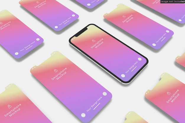 Smartphone avec maquette d'écran multiple sur gros plan