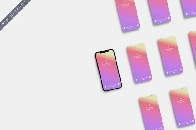 Smartphone avec maquette d'écran multiple