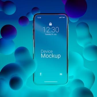 Smartphone maquette avec éléments dynamiques liquides
