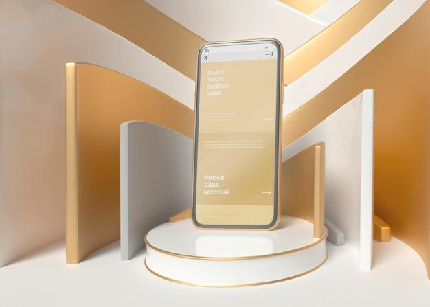 Smartphone sur maquette de fond géométrique