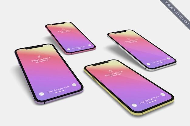 Smartphone avec maquette de plusieurs couleurs sur gros plan