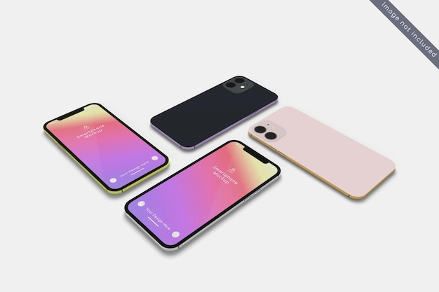 Smartphone avec maquette de plusieurs couleurs en vue grand angle