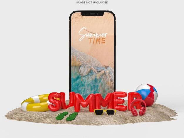 Smartphone avec objets de plage décoratifs