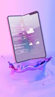 Smartphone avec page de connexion et fond liquide coloré