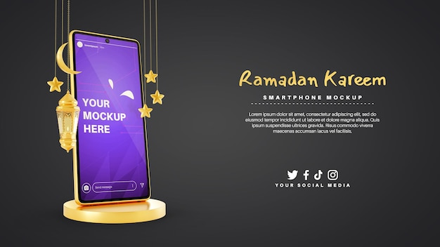 Smartphone pour le ramadan kareem musulman