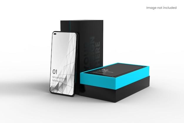 Smartphone réaliste avec maquette de boîte