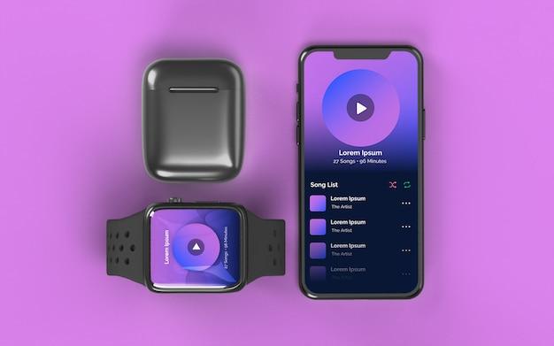 Smartphone smartwatch et étui pour écouteurs maquette