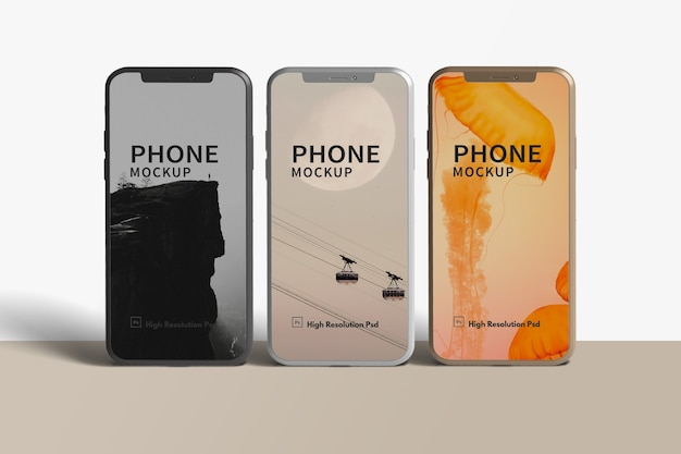 Smartphones en maquette d'angle de vue de face