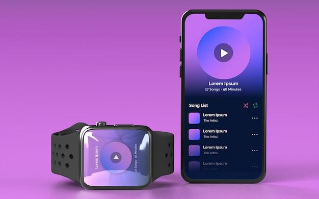 Smartwatch et maquette de smartphone