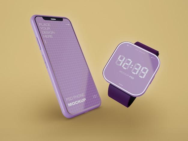 Smartwatch et maquette de téléphone