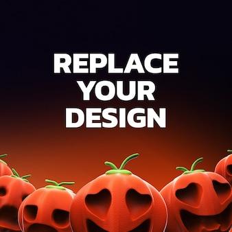 Socail media mockup design rendu 3d