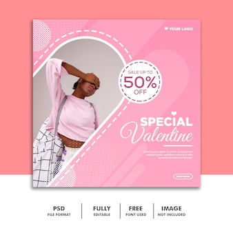 Social media post valentine banner instagram, pink girl