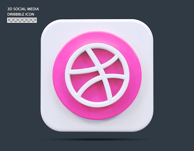Social medial dribbble icône concept rendu 3d