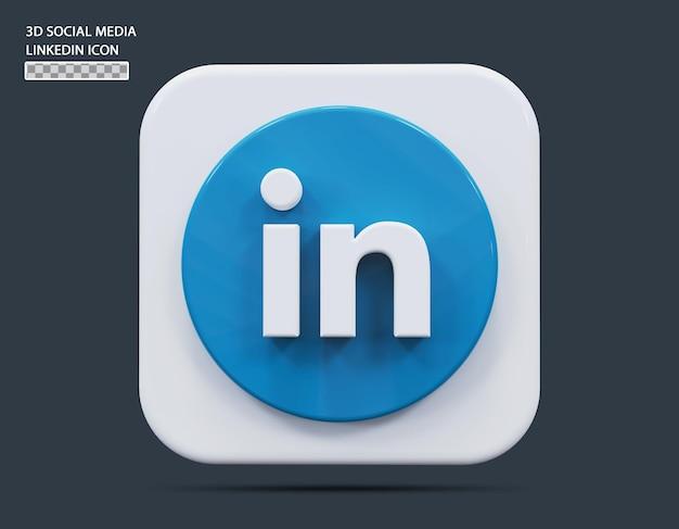 Social medial linkedin icône concept rendu 3d