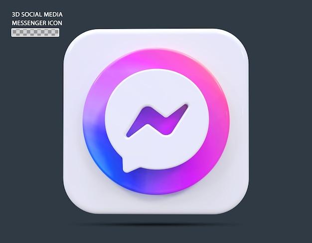 Social medial messenger icône concept rendu 3d