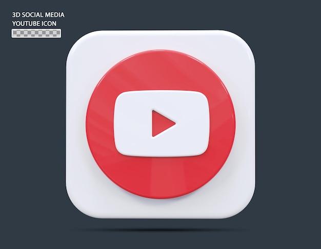 Social medial youtube icône concept rendu 3d