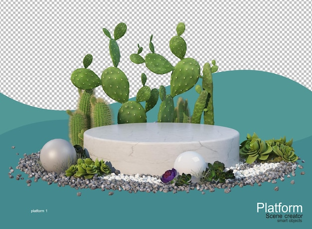 Le socle circulaire affiche les produits qui se trouvent dans le jardin de cactus