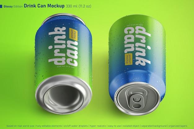 Le soda en aluminium réaliste 330 ml peut contenir un modèle de maquette avec deux variantes