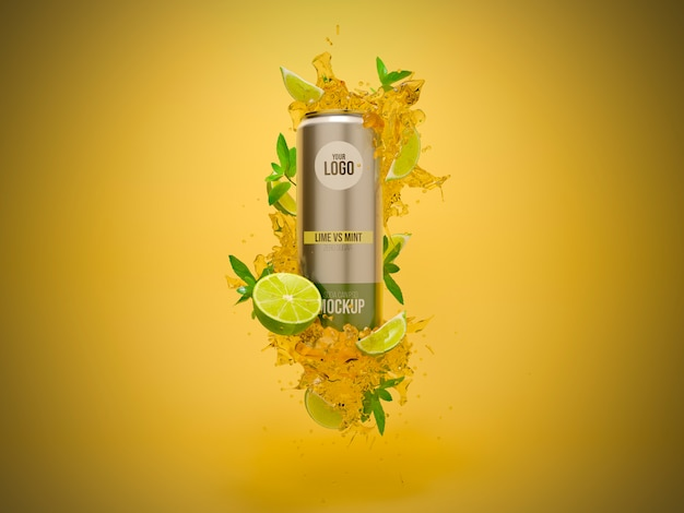 Soda can mockup lime vs mint splash rendu 3d