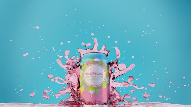 Soda peut avec éclaboussures de jus