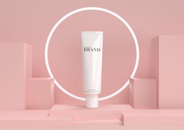Soins de la peau hydratants produits cosmétiques premium avec fond abstrait.